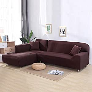 L Shape Sofa Covers KOBWA 2pcs Solid Color Sofa Covers 3 Seater Stretch Sofa Slipcovers with 16 Pcs Sponge Sticks Universal Stretch Polyester Fabric Sofa Slipcover Protector Set