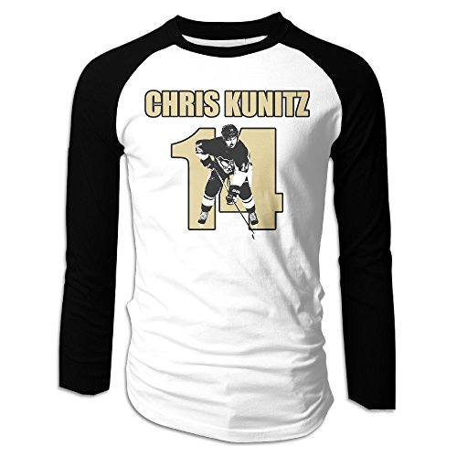 Creamfly Mens Chris Hockey Kunitz Long Sleeve Raglan Baseball Tshirt M (Patrick Sharp Puck)