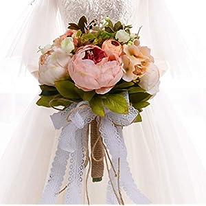 HiiARug Bridal Wedding Bouquets, Romantic Handmade Holding Flower Full Bloom Artificial Peony Rose Bouquet Bride Bridesmaid Holding Flower (Pink2)