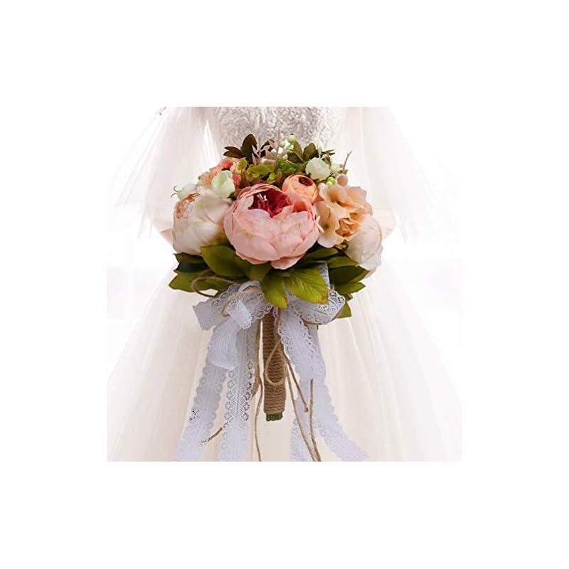 silk flower arrangements hiiarug bridal wedding bouquets, romantic handmade holding flower full bloom artificial peony rose bouquet bride bridesmaid holding flower (pink2)