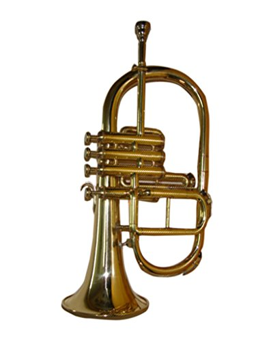 OSWAL Bb/F Brass Finishing 4 Valve Flugel Horn+W/Case+Mouthipiece by OSWAL