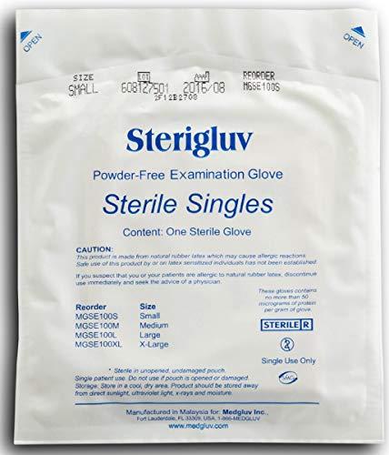 Medglove | Sterigluv Latex Powder-Free Exam Gloves | Sterile Singles | Individual Packs | 100 Gloves Per Box