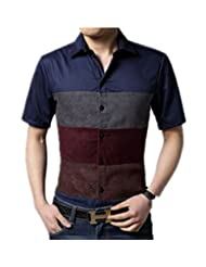 Fashion Men'S Cotton Shirts With Short Sleeves Shirt Stripe Pattern