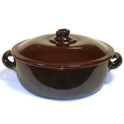 Terra Cotta Round Casserole Heat Diffuser: None, Color: Orange For Sale