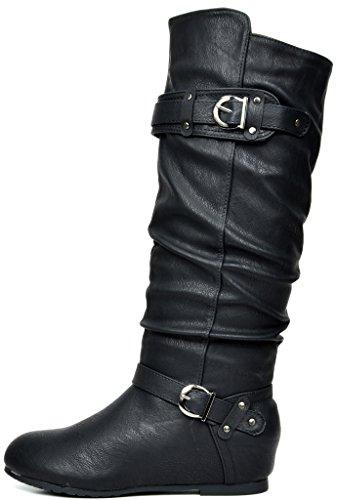 Wedge Knee Low Dream High Hidden Black Pairs Women's Boots IqwEYv