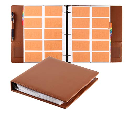 Rolodex Vinyl Business Card Book - Business Card 3 Ring Binder Folder Organizer Holds 600 Cards with Alphabetical Index and 30 Double Sided Protector Pages (Brown)