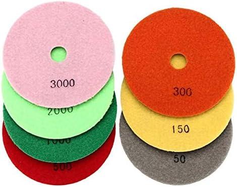 Gute Qualität 5-Zoll-50-3000 Grit Diamantpolierscheibe Schleifscheibe for Marmor Beton Granit Glas 7pcs