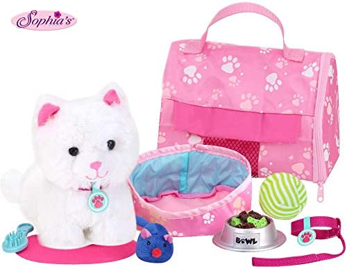 Sophia's 18″ Doll Sized Pet Cat with Carrier, Bed & Accessories 10Piece Set 6″ Soft White Kitten