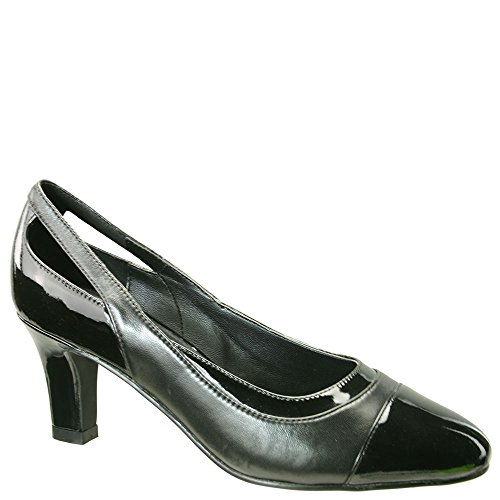 David Tate Women's Grove Pump,Black Kidskin/Black Patent Leather,US 7.5 W