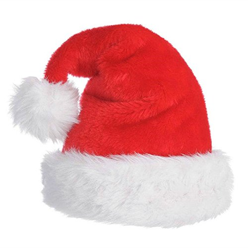 Christmas Hat Velvet Santa Hat for Adults with Plush Trim Classic Red/White