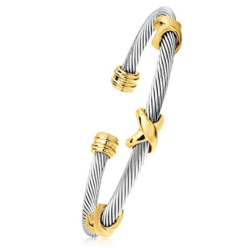 Designer Inspired Titanium Stainless Steel Vintage Signature Twisted Cable Bracelet Bangle (Gold X Cross)