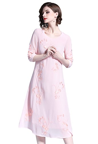 28097530 kjole Midi 3 amp; Fest Med Floral line Rosa Broderi Knelange Meng Casual A  erme Sommer ...