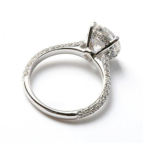 Gowe 3carat CT rond dents Lab Cultivées Charles en diamant avec accents de diamant solide 14K 585Or blanc