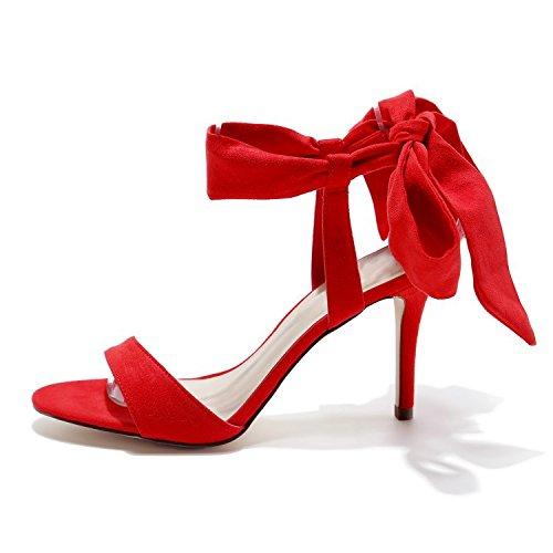 De Zapatos Superficial Tiras De Primavera Correas Tacones Rojo Con Una Delgadas Y Eu37Cn38 Mujer Boca De Hebilla De De La De Sandalias Hollow Sandalias OzqOxr