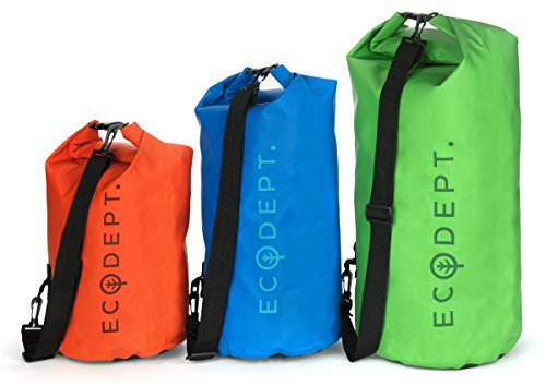 ECOdept Lightweight Waterproof Dry Bag ~ Backpack Duffel with Shoulder Strap ~ Roll-Top Closure ~ Beach, Camping, Boating, Kayaking, Canoeing, Swimming and Snorkeling ~ Perfect Gift