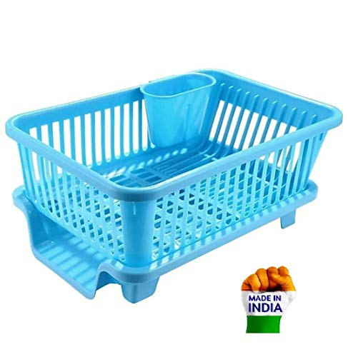 Figment 3 in 1 Large Durable Plastic Kitchen Sink Dish Rack Drainer Drying Rack Washing Basket with Tray for Kitchen, Dish Rack Organizers, Utensils Tools Cutlery (Blue) Price & Reviews