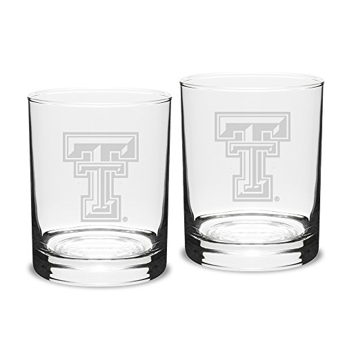 NCAA Texas Tech Red Raiders Adult Set of 2 - 14 oz Double Old Fashion Glasses Deep Etch Engraved, One Size, Clear