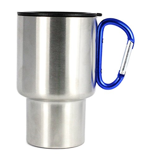 Outdoor RX Stainless Steel Carabiner Travel Mug (Blue, 14-Ounce)