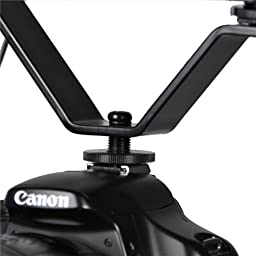 CowboyStudio Dual Mount Bracket for Video Lights & Microphones on Cameras and Camcorders