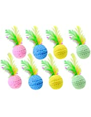 Nargos 1.5 Dia Colorful Golf Sponge Balls Cats Toys with Feathers-Christmas Version (8 Pack)