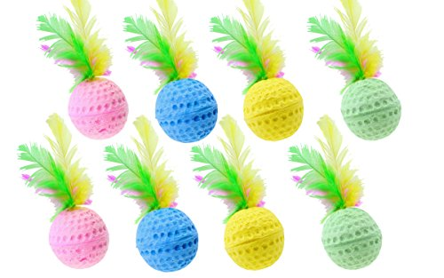 Nargos 1.5 Dia Colorful Golf Sponge Balls Cats Toys With Feathers-Christmas Version (8 Pack) Feather Ball Cat Toy