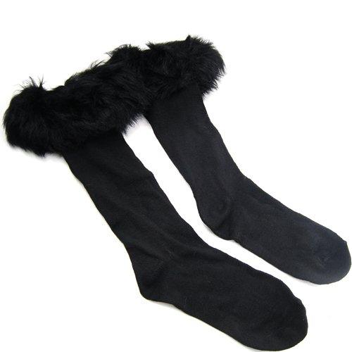 Easyfashion Ladies Faux Fur Socks Leg Warmer Winter Stocking Fur Cover Cuff Fit Boots (black) (Sleeve Faux Boot Fur)