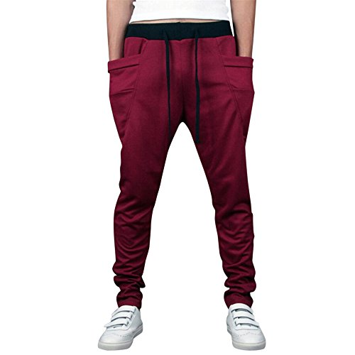 iYBUIA Autumn Winter Pure Color Mens Jogger Tracksuit Running Sport Pants Sweatpants Trousers Plus Size Wine]()
