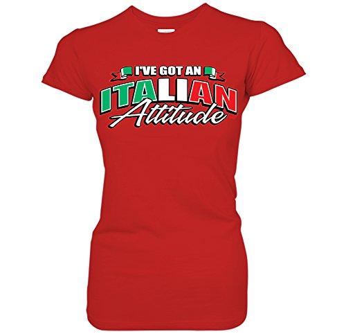 Italian Attitude T-shirt - I've Got An Italian Attitude -Waving Italy Flag Pride Juniors T-Shirt (Medium Red)