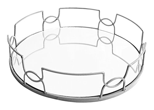 The Jay Companies Round Mirror Tray, - Mirror Silver Round