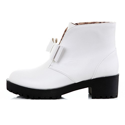 AllhqFashion Womens Low-Heels Solid Round Closed Toe Soft Material Pull-On Boots with Bows White m42EPDxkl