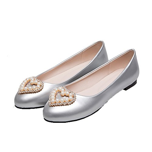 AllhqFashion Womens Patent Leather Low-Heels Round-Toe Pull-On Pumps-Shoes Silver imyUJjG