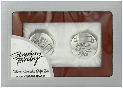 Stephan Baby Satin-Lined Rosewood Keepsake Box with Silver Plated First Tooth and First Curl Boxes
