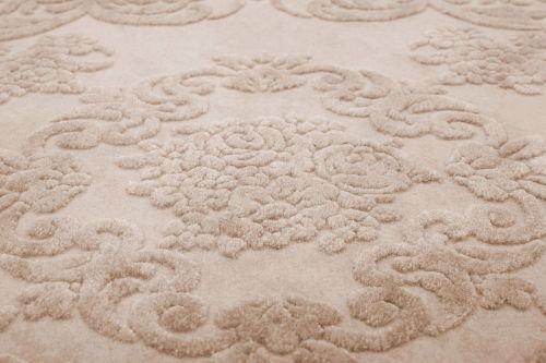 Tapis florale beige pour salon motifs en relief à effet 3D Taille 160_x_160_cm - Couleur Beige