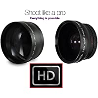 2-Pc Lens Kit Hi-Definition Telephoto & Wide Angle Lens Set For Canon EOS M5 M10 (49mm compatible)