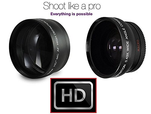 Hi-Def Telephoto & Wide Angle Lens Set For Panasonic Lumix DMC-G7 DMC-G7K (46mm Compatible) by - Vivitar