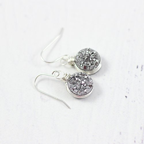 Silver Druzy Gemstone Wire Wrapped Earrings Mother