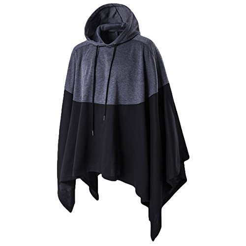 Haseil Men's Casual Pullover Hoodies Bat Sleeves Hooded Cloak Phocho Cape Coat, Black, Large