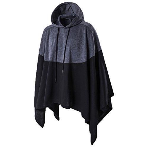 Haseil Men's Casual Pullover Hoodies Bat Sleeves Hooded Cloak Phocho Cape Coat, Black, Medium