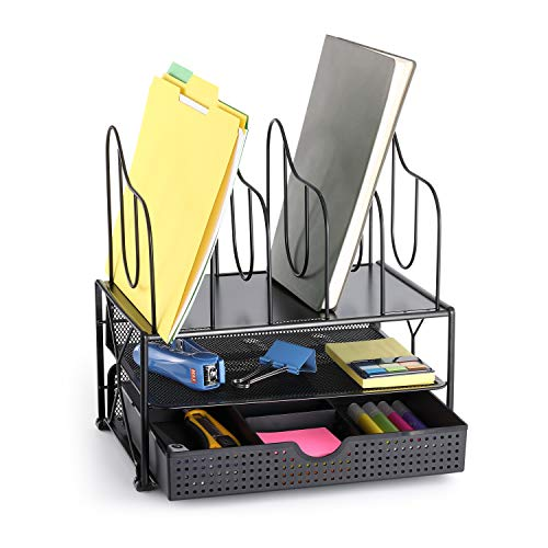 CAXXA Desk Organizer with Double Trays, Sliding Drawer with 2 Adjustable Drawer Dividers and 5 Upright Sections | Paper Folder Binder Letter Holder Office Storage, Black