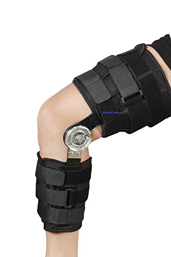 ROM Knee Brace, Adjustable Post OP Patella Brace Support Stabilizer Pad Orthosis Splint Wrap Medical Orthopedic Guard Protector by HealthNode (FIT TO ALL/UNIVERSAL SIZE/FREE SIZE) ()