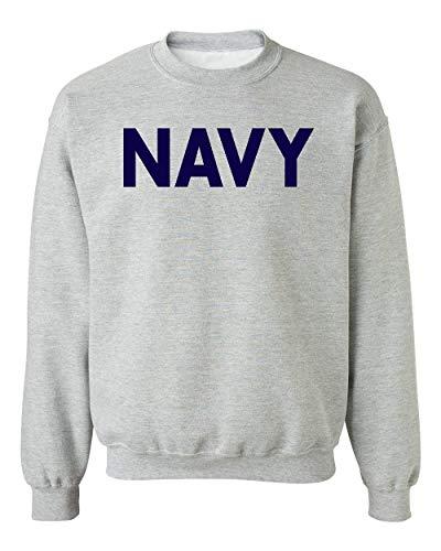 (Promotion & Beyond Military Gear Navy Training PT Crewneck Sweatshirt, L, H. Grey)