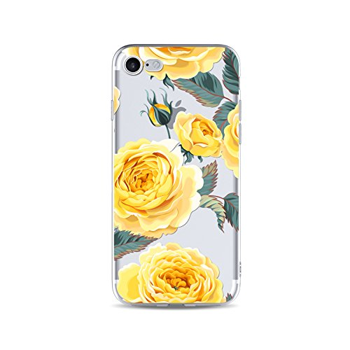 official photos 6417f 6232e iPhone 8 Case/iPhone 7 Case(4.7inch),Blingy's Floral Design Transparent  Clear Soft TPU Clear Protective Case for iPhone 8/iPhone 7 (Yellow Roses)