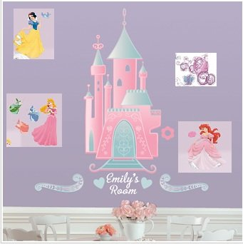 Disney Princess Castle Mega Decal Pack with Personalization - Includes 1  Giant Castle Wall Decal 18.5u0026quot