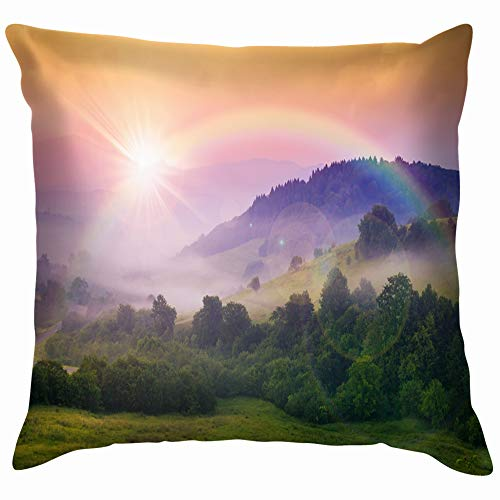 Cold Morning Fog Red Hot Sunrise Nature Rainbow Parks Outdoor Pillow Case Throw Pillow Cover Square Cushion Cover 16X16 Inch -