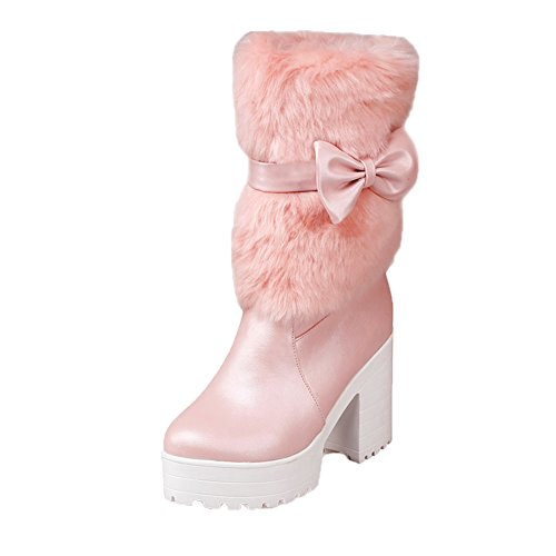 Women's High Chunky Boots Shoes Tie Pink Platform Heel Sweet Bow Calf Mid DoraTasia Snow Fwx4d0d