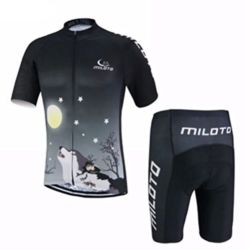 Uriah Men's Cycling Jersey and Shorts Sets Short Sleeve Reflective Wolf Night Size XXL(CN) (Shorts Cycling Wolf Men)