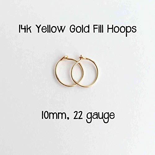 Mini Hoop Earrings 14k Yellow Gold Fill 10mm 22 gauge. Small Minimalist Huggie Hoops Handmade by Sunlight Silver Jewelry