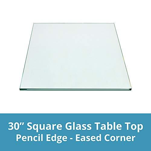 TroySys Square Glass Table Top Custom Annealed Clear Tempered – 3/8