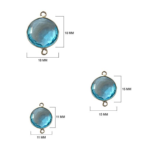 (4 Pcs Blue Topaz Coin Beads 11mm silver by BESTINBEADS, Blue Topaz Hydro Quartz Coin Pendant Bezel Gemstone Connectors over 925 sterling silver bezel jewelry making)