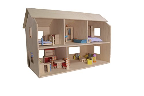 """Childcraft 252363 Classic Dollhouse, 19.5"""" Height, 15.5"""" Width, 29.75"""" Length, Natural Wood"""